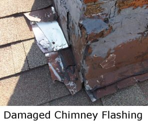 damaged chimney flashing in need of replacement
